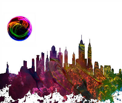 Skylines Paintings - New York City Skyline by Celestial Images
