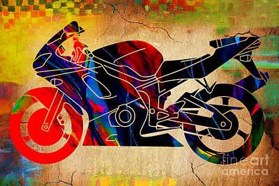 Motorcycle Mixed Media - Ninja Motorcycle Art by Marvin Blaine