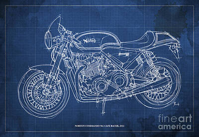 Homedecor Drawing - Norton Commando 961 Cafe Racer 2011 by Pablo Franchi