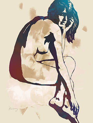 Horned Drawing - Nude Pop Stylised Art Poster by Kim Wang