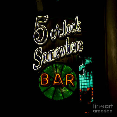 5 O'clock Somewhere Bar Art Print by Nina Prommer