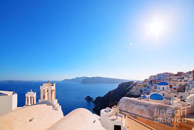 Wallpaper Photograph - Oia Town On Santorini Greece by Michal Bednarek