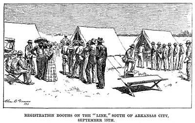 Arkansas Drawing - Oklahoma Land Rush, 1893 by Granger