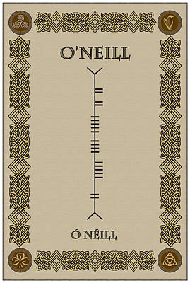 Print featuring the digital art O'neill Written In Ogham by Ireland Calling