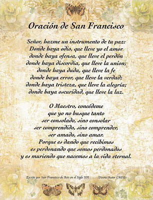 Oracion De San Fransisco Asis-paz Original