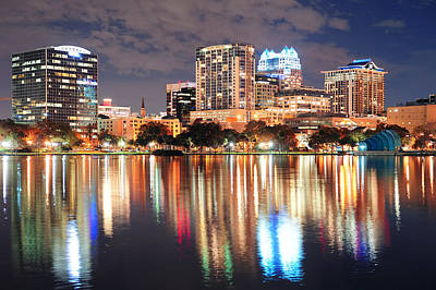 Photograph - Orlando Downtown Dusk by Songquan Deng