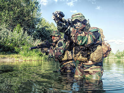 Photograph - Pair Of Soldiers In Action by Oleg Zabielin