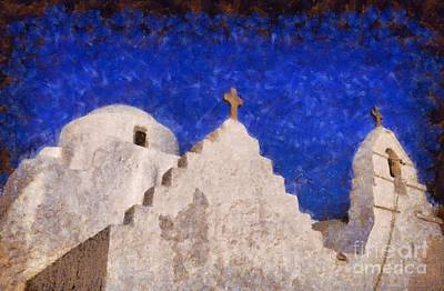 Panagia Paraportiani Church In Mykonos Island Art Print