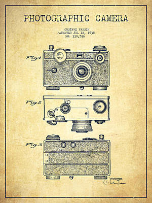 Vintage Camera Wall Art - Digital Art - Photographic Camera Patent Drawing From 1938 by Aged Pixel
