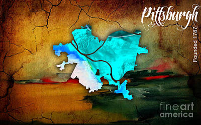 Pittsburgh Map Watercolor Art Print by Marvin Blaine
