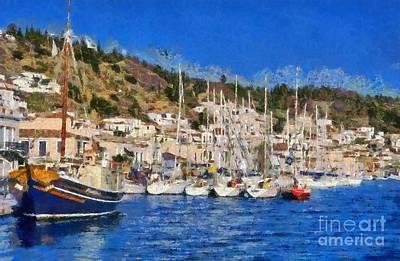 Ship Painting - Poros Island by George Atsametakis