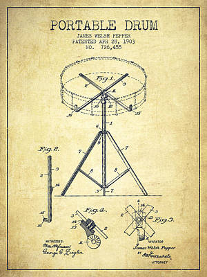 Drummer Drawing - Portable Drum Patent Drawing From 1903 - Vintage by Aged Pixel
