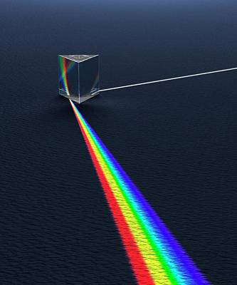 Prism Dispersing Light Into Spectrum Art Print by David Parker
