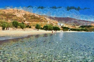 Painting - Psili Ammos Beach In Serifos Island by George Atsametakis