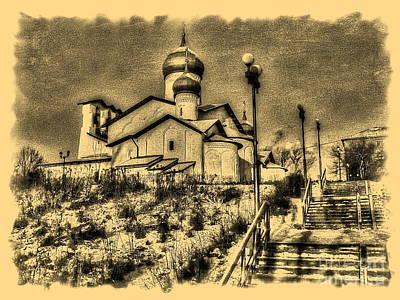 The Church Mixed Media - Pskov Russia by Yury Bashkin