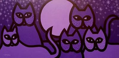 5 Purple Cats Original by John  Nolan