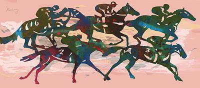 Racing Horse Stylised Pop Art Drawing Potrait Poser Print by Kim Wang