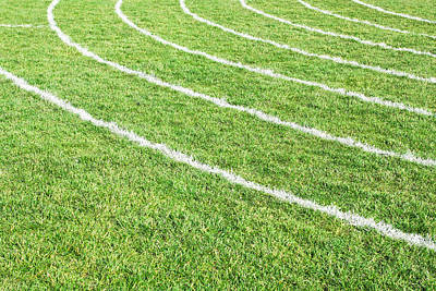 Footballs Closeup Photograph - Racing Track by Tom Gowanlock