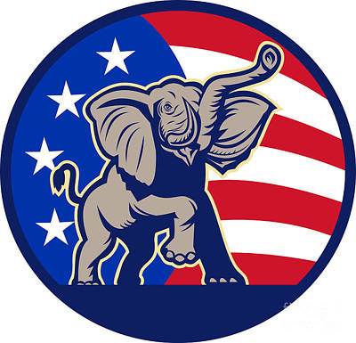 Digital Art - Republican Elephant Mascot Usa Flag by Aloysius Patrimonio