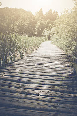 Hike Photograph - Retro Hiking Path With Sunlight With Instagram Style Vintage Fil by Brandon Bourdages
