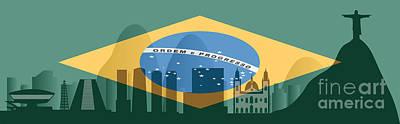 Jesus Christ Digital Art - Rio De Janeiro Skyline by Michal Boubin