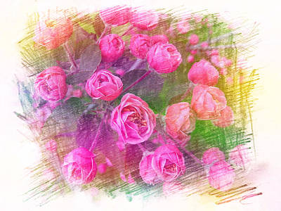 Painting - Pink Roses by Xueyin Chen