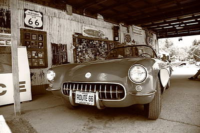 Route 66 Corvette Art Print by Frank Romeo