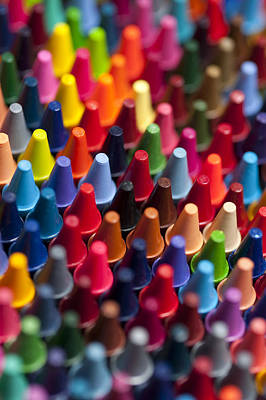 Comedian Drawings - Rows of multicolored crayons  by Jim Corwin