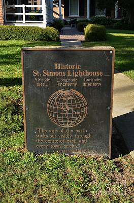 Photograph - Saint Simons Lighthouse Plaque by Bob Sample