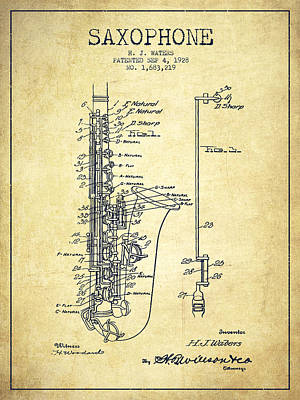 Orchestra Drawing - Saxophone Patent Drawing From 1928 by Aged Pixel