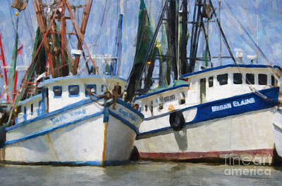Shrimp Boats On The Creek Art Print by Dale Powell