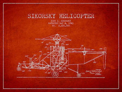 Transportation Digital Art - Sikorsky Helicopter patent Drawing from 1943 by Aged Pixel