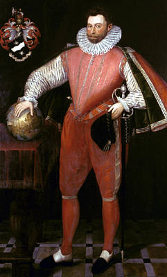 Globe Painting - Sir Francis Drake (1540?-1596) by Granger