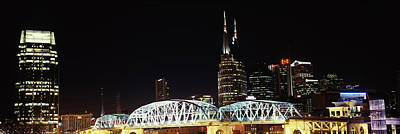 Cumberland River Photograph - Skylines And Shelby Street Bridge by Panoramic Images