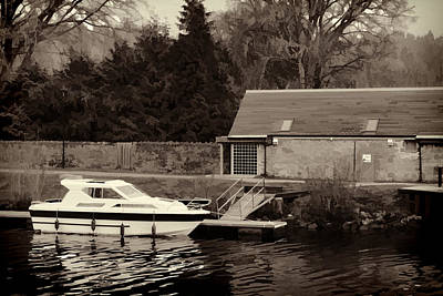 Tree Photograph - Small White Yacht In The Water Of The Caledonian Canal by Ashish Agarwal