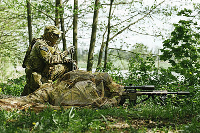 Photograph - Sniper And Spotter Of Green Berets U.s by Oleg Zabielin
