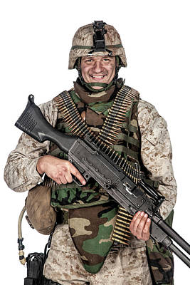 Photograph - Soldier In Camouflage Combat Uniform by Oleg Zabielin