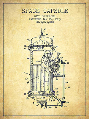 Orbit Digital Art - Space Capsule Patent From 1963 by Aged Pixel