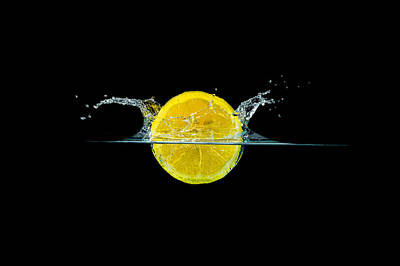 Splashing Lemon Art Print