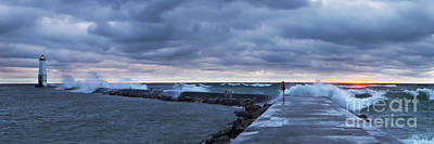Michigan Photograph - Stormy Day On The Frankfort Pier by Twenty Two North Photography