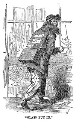 Glazier Drawing - Street Peddler, 1868 by Granger