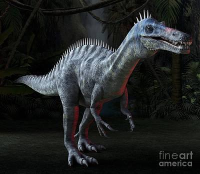 Moonlit Night Photograph - Suchomimus Dinosaur, Artwork by Roger Harris