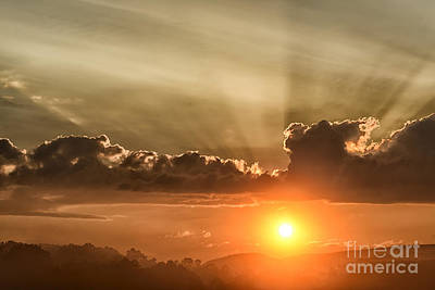 Sunrise And Fog Art Print
