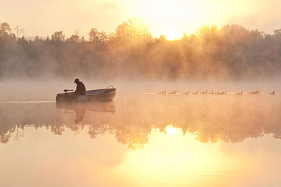 Sunrise In Fog Lake Cassidy With Fisherman In Small Fishing Boat Art Print