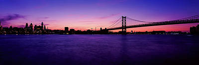 Ben Franklin Bridge Photograph - Suspension Bridge Across A River, Ben by Panoramic Images