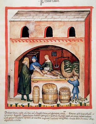 Miniature Shops Photograph - Tacuinum Sanitatis, Medieval Health by Prisma Archivo