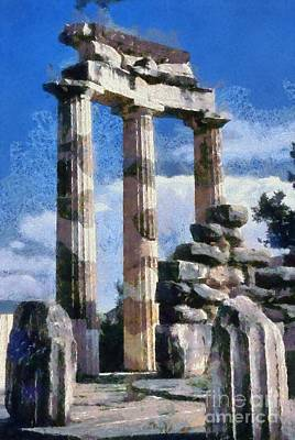 Painting - The Tholos At The Temple Of Athena Pronaia In Delphi I by George Atsametakis