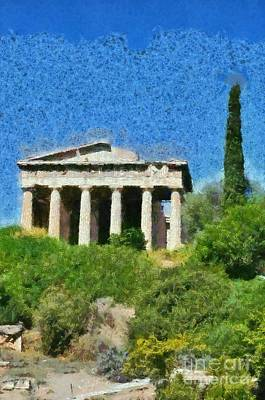Old Painting - Temple Of Hephaestus by George Atsametakis