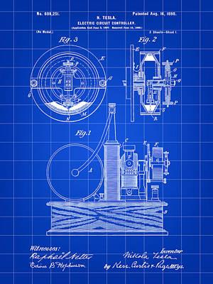 Resistor Digital Art - Tesla Electric Circuit Controller Patent 1897 - Blue by Stephen Younts