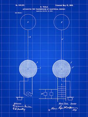 Resistor Digital Art - Tesla Electric Transmission Patent 1900 - Blue by Stephen Younts